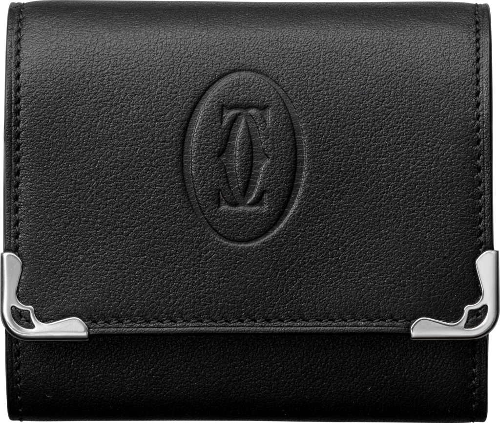 Must de Cartier Small Leather Goods, square coin purseBlack calfskin, stainless steel finish